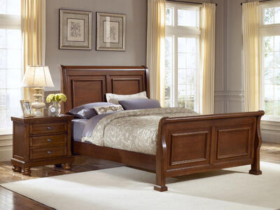 Reflections Sleigh Bedroom Set (Medium Cherry Finish)