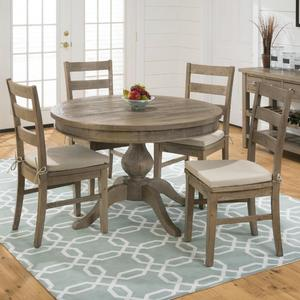Slater Mill Pine Reclaimed Pine Round to Oval 5 Piece Dining Set - [941-66B+941-66T+4x941-538KD+CUSHION-941]