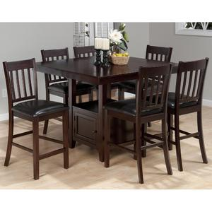 Tessa Chianti Casual Square Counter Height 7 Piece Dining Set - [933-48B+933-48T+6x933-BS429KD]