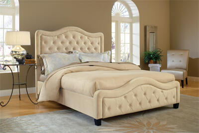 Trieste Tufted Upholstered Bed in a Neutral Buckwheat Fabric - [1566BQRT]