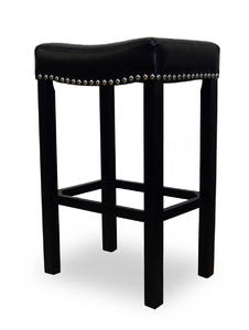 Tudor Counter Stool (Black Bonded Leather & Chrome Nail) - [LCMBS013BABL26]