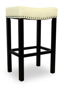 Tudor Counter Stool (Cream Bonded Leather & Chrome Nail) - [LCMBS013BACR26]