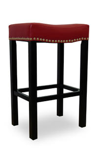 Tudor Counter Stool (Red Bonded Leather & Chrome Nail) - [LCMBS013BARE26]