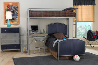 Universal Loft Bed & Study (Silver & Navy Finish) - [1178DBTC]