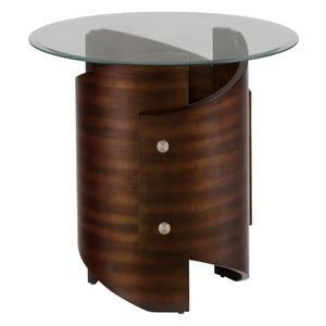 Waterville Walnut Glass Top End Table - [956-3B+956-3G]