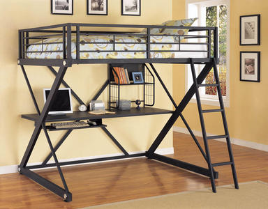 Z-Bedroom Full Size Study Loft Bunk Bed (Brushed Chrome) - [354-117]